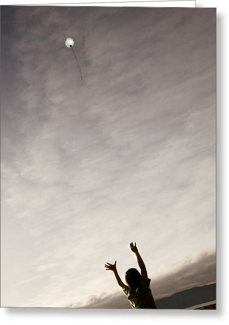 Young Albert Greeting Cards - Balloon Floating Away In The Sky Greeting Card by Con Tanasiuk