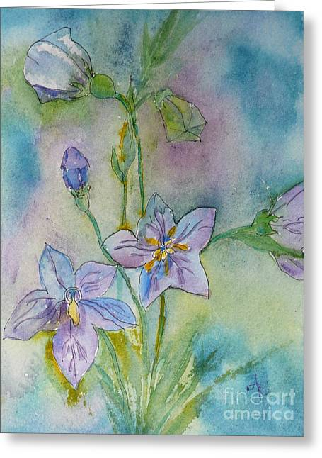 Balloon Flower Paintings Greeting Cards - Balloon Flower Greeting Card by Anna Ruzsan