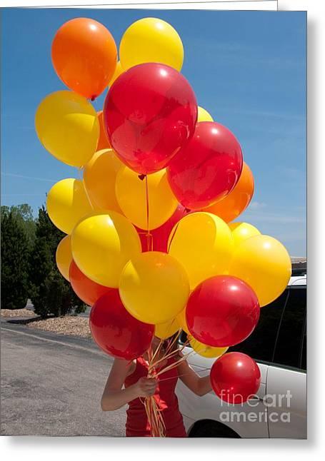 Balloon Girl Greeting Card by Ann Horn