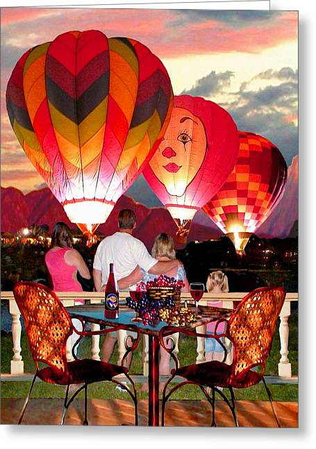Still-life With A Basket Greeting Cards - Balloon Glow at Twilight Greeting Card by Ronald Chambers