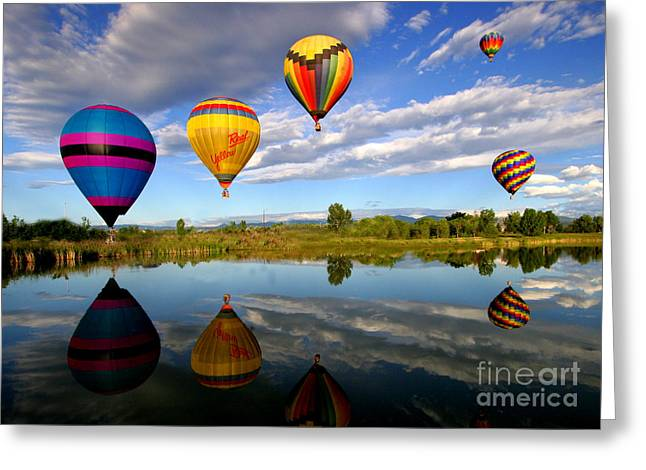 Ski Art Greeting Cards - Balloon Horizon Greeting Card by Jennifer Mecca
