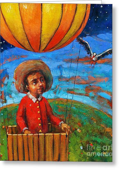 Dream Scape Greeting Cards - Balloon Journey Greeting Card by Michal Kwarciak