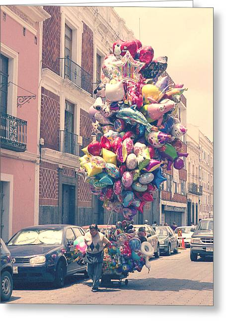 Balloon Vendor Greeting Cards - Balloon Lady Mexico Greeting Card by Katya Smith
