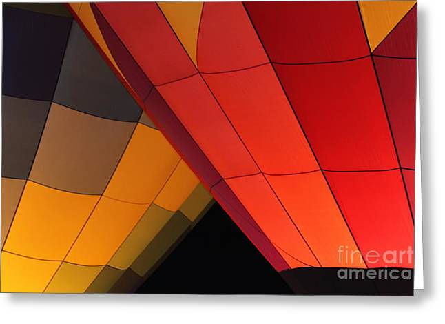 Shades Of Red Greeting Cards - Balloon Neibors Greeting Card by Carol Komassa