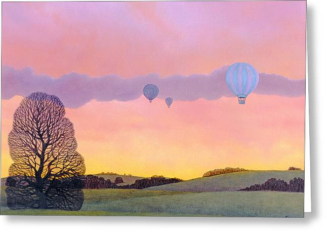 Rural Landscapes Greeting Cards - Balloon Race, 2004 Oil On Canvas Greeting Card by Ann Brain
