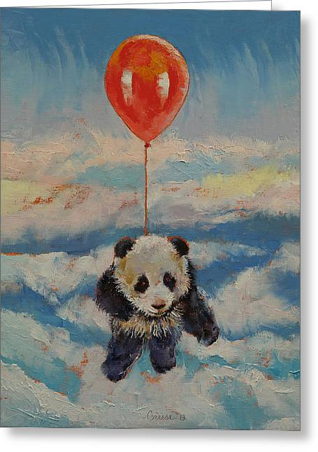 Kid Paintings Greeting Cards - Balloon Ride Greeting Card by Michael Creese