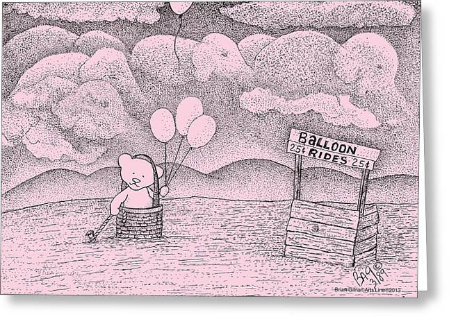 Balloon Flower Drawings Greeting Cards - Balloon Rides Greeting Card by Brian Gilna