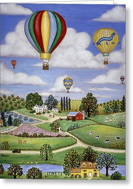 Best Sellers -  - Top Seller Greeting Cards - Ballooning in the Country One Greeting Card by Linda Mears