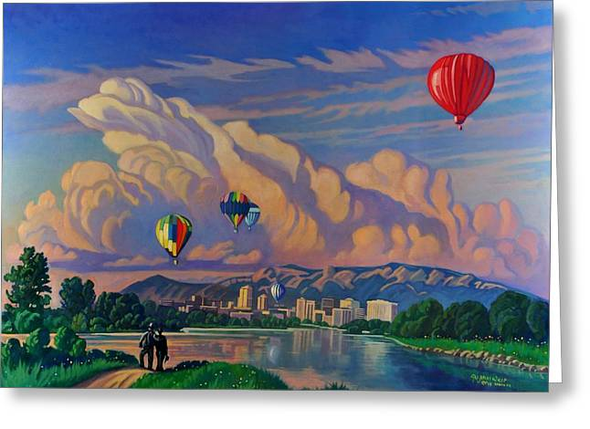 Ballooning On The Rio Grande Greeting Card by Art James West