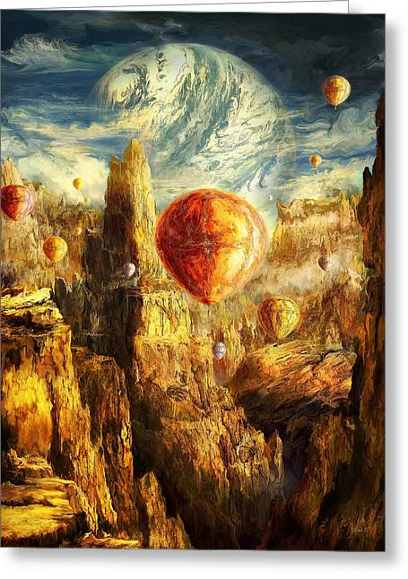Oil Like Digital Greeting Cards - Ballooning Through the Cosmic Chasm Greeting Card by Ernest Tang