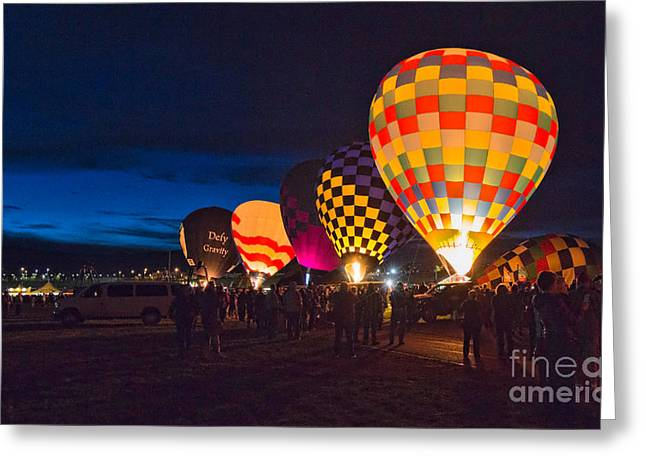 Hot Air Balloons Greeting Cards - Balloons And The Morning Glow In Panorama Greeting Card by Mimi Ditchie