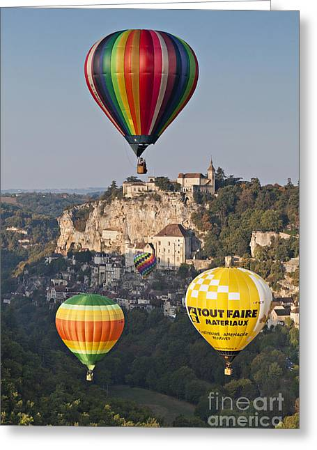 Midi Greeting Cards - Balloons at Rocamadour Midi Pyrenees France Greeting Card by Colin and Linda McKie