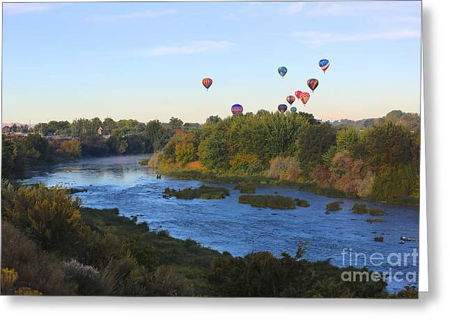 Yakima Valley Greeting Cards - Balloons Cruising over Prosser with River and Mount Adams Greeting Card by Carol Groenen