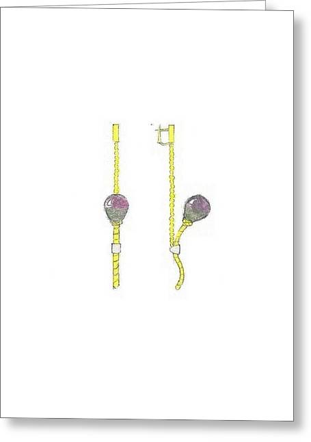 Giuliano Capogrossi Colognesi Greeting Cards - Balloons Earrings Greeting Card by Giuliano Capogrossi Colognesi