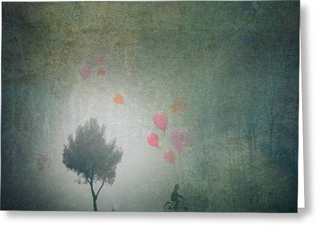 Black Man Mixed Media Greeting Cards - Balloons In The Mist Greeting Card by Art Skratches