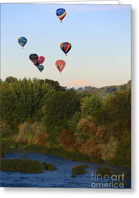 Yakima Valley Greeting Cards - Balloons Mountain and River Greeting Card by Carol Groenen