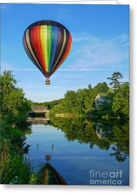 Balloon Greeting Cards - Balloons over Quechee Vermont Greeting Card by Edward Fielding