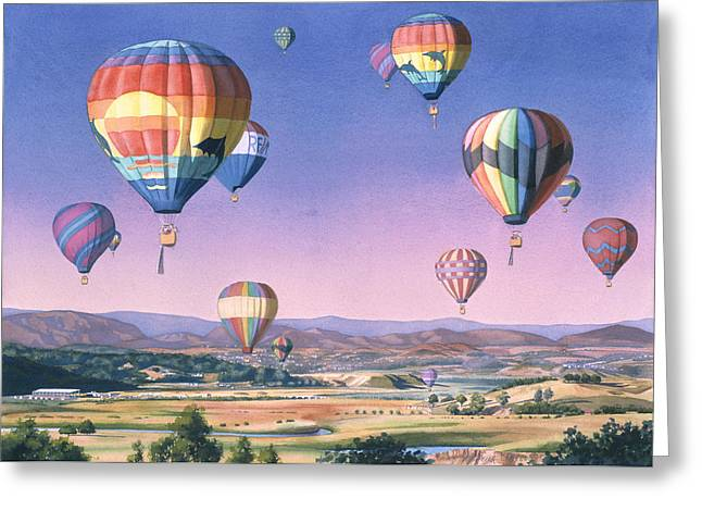 """hot Air Balloons"" Greeting Cards - Balloons over San Dieguito Greeting Card by Mary Helmreich"