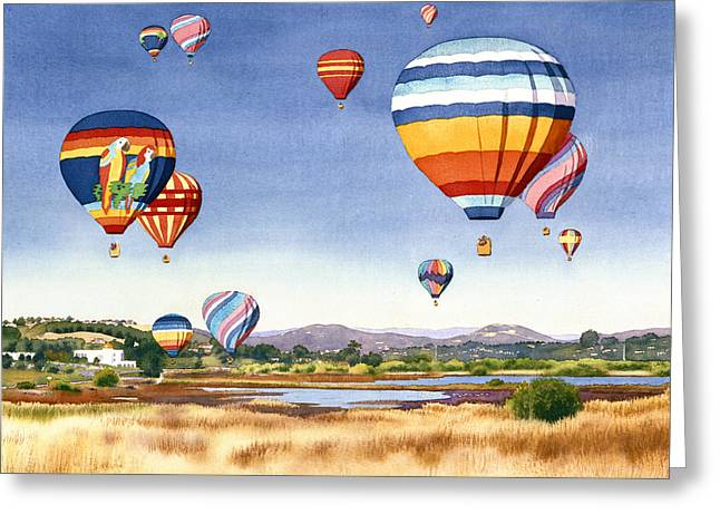 Santa Fe Greeting Cards - Balloons over San Elijo Lagoon Encinitas Greeting Card by Mary Helmreich