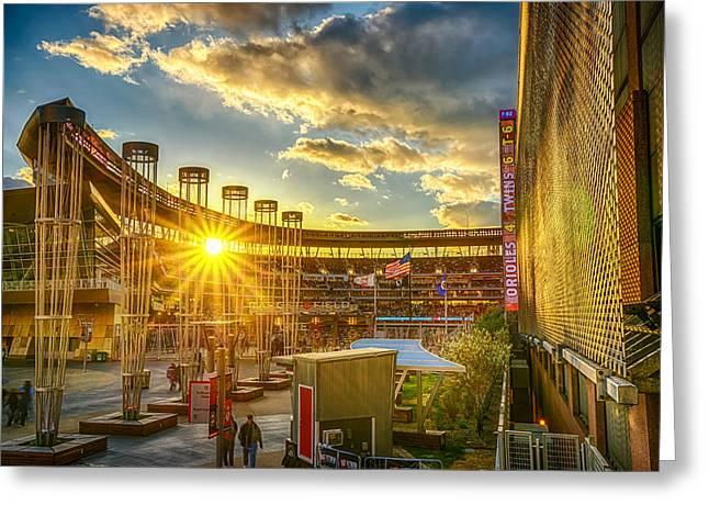 Target Field Greeting Cards - Ballpark Sunset at Target Field Greeting Card by Mark Goodman