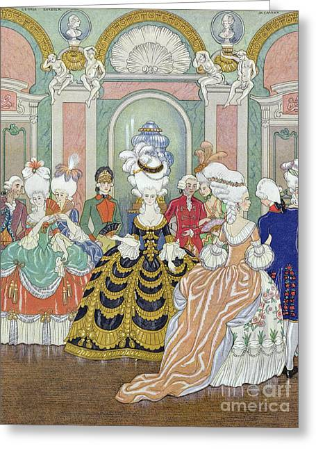 18th Century Greeting Cards - Ballroom Scene Greeting Card by Georges Barbier