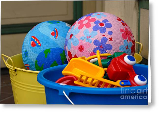 Play Greeting Cards - Balls and Toys in Buckets Greeting Card by Amy Cicconi