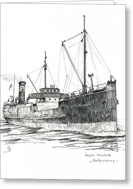 Seacape Drawings Greeting Cards - Ballycrainey Greeting Card by Frits Janse