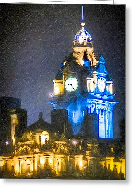 Balmoral Greeting Cards - Balmoral Clock Tower on Princes Street in Edinburgh Greeting Card by Mark Tisdale