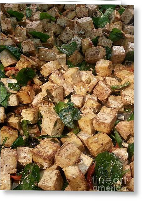 Balsamic Digital Greeting Cards - Balsamic Roasted Tofu And Spinach Greeting Card by Emmy Marie Vickers