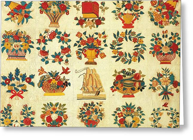 New Tapestries - Textiles Greeting Cards - Baltimore Album Quilt c 1850 Greeting Card by Hellin Melvina Starr