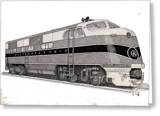 Baltimore And Ohio Diesel Engine Greeting Card by Calvert Koerber