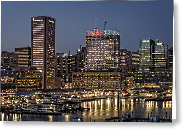 Inner Reflections Greeting Cards - Baltimore at Dusk Greeting Card by Rick Berk