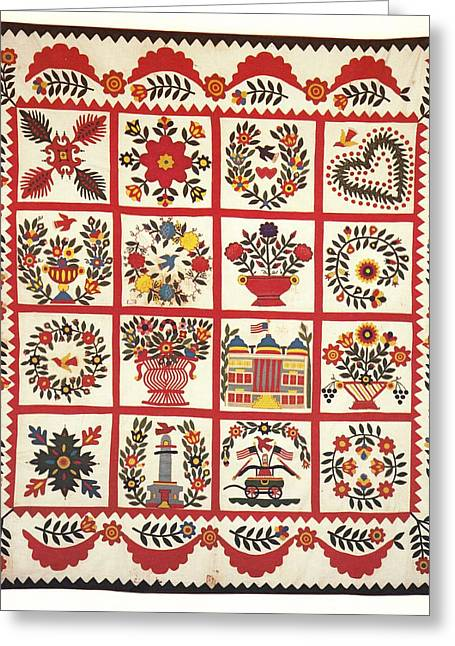 Collection Tapestries - Textiles Greeting Cards - Baltimore Brides Quilt c1850 Greeting Card by Sarah A Shafer
