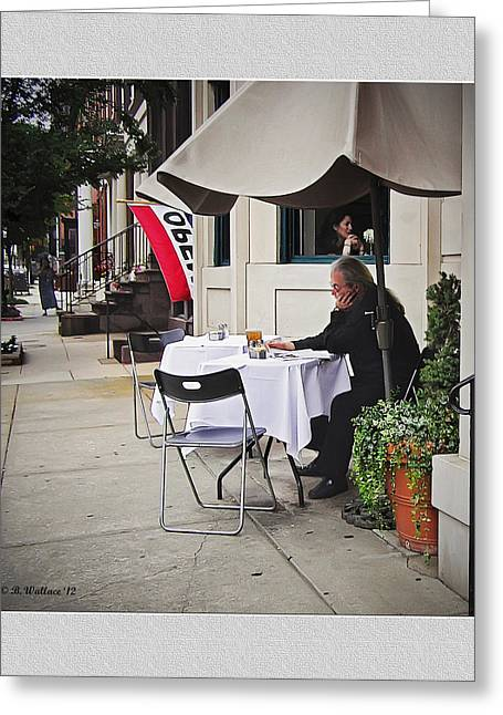 Concrete Planter Greeting Cards - Baltimore Cafe Greeting Card by Brian Wallace
