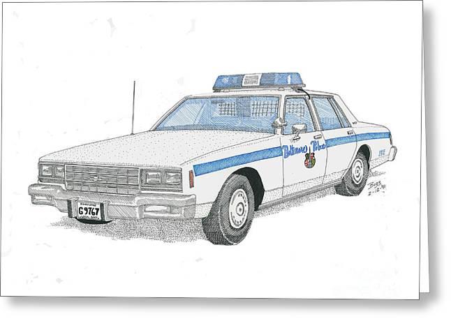 Baltimore City Police Cruiser Greeting Card by Calvert Koerber