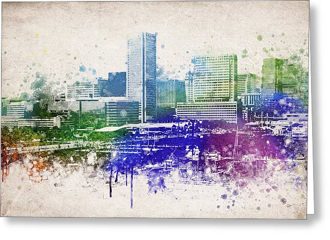City Hall Greeting Cards - Baltimore City Skyline Greeting Card by Aged Pixel