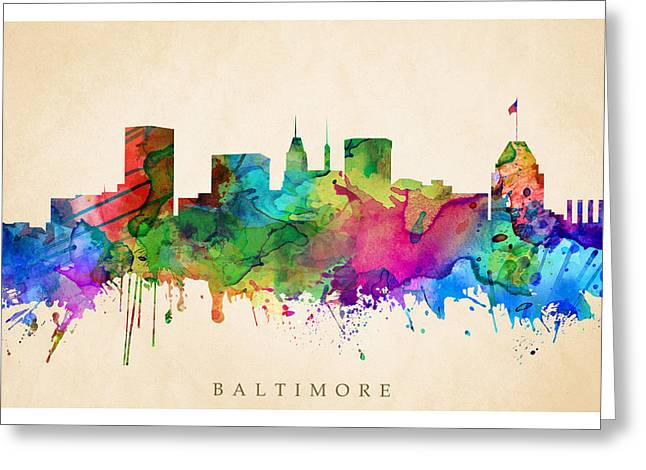 Steve Will Greeting Cards - Baltimore Cityscape Greeting Card by Steve Will