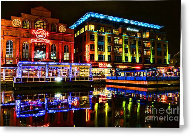 Hard Rock Cafe Greeting Cards - Baltimore Harbor Bridge Walk at Night Greeting Card by Olivier Le Queinec