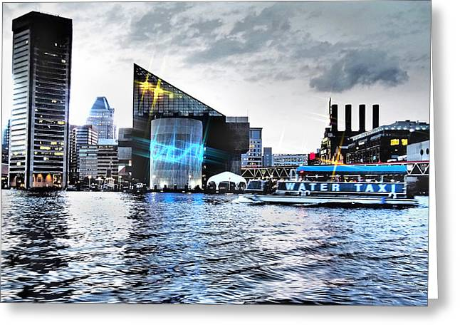 Night Cafe Digital Art Greeting Cards - Baltimore - Harborplace - Inner Harbor at Night  Greeting Card by Donna Haggerty