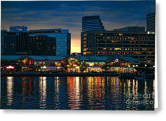 Inner Reflections Greeting Cards - Baltimore Harborplace Light Street Pavilion Greeting Card by Olivier Le Queinec
