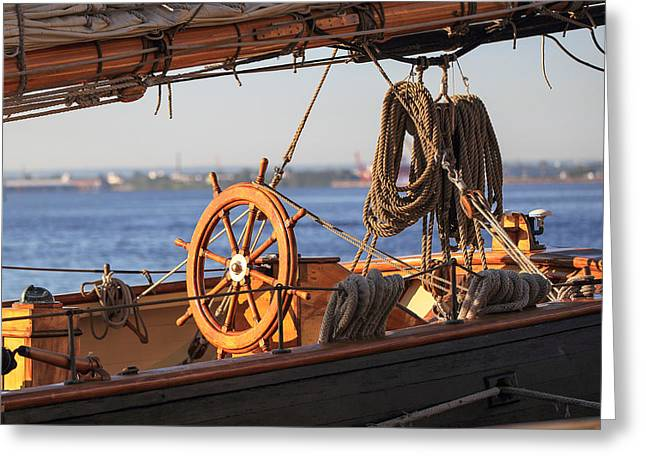 Historic Schooner Greeting Cards - Baltimore Helm Greeting Card by Keith R Crowley
