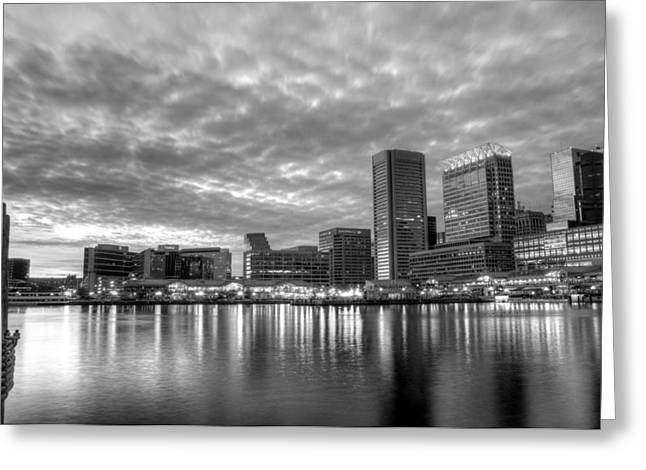 Chesapeake Bay Greeting Cards - Baltimore in Black and White Greeting Card by JC Findley