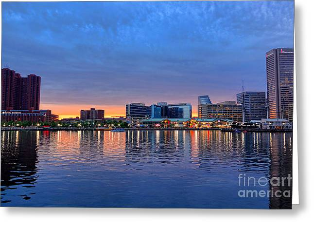 Inner Reflections Greeting Cards - Baltimore Inner Harbor at Dusk Greeting Card by Olivier Le Queinec