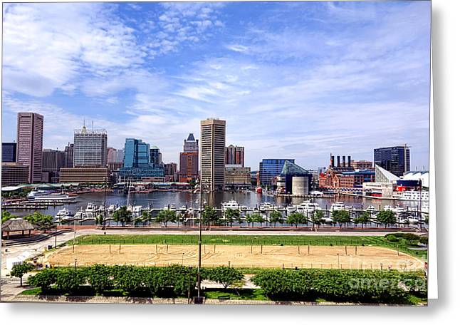 Volley Greeting Cards - Baltimore Inner Harbor Beach Greeting Card by Olivier Le Queinec