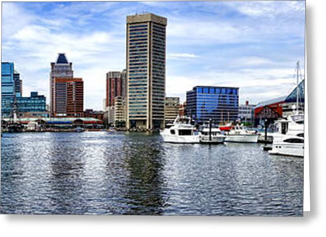 Inner Harbor Greeting Cards - Baltimore Inner Harbor Marina - Generic Greeting Card by Olivier Le Queinec