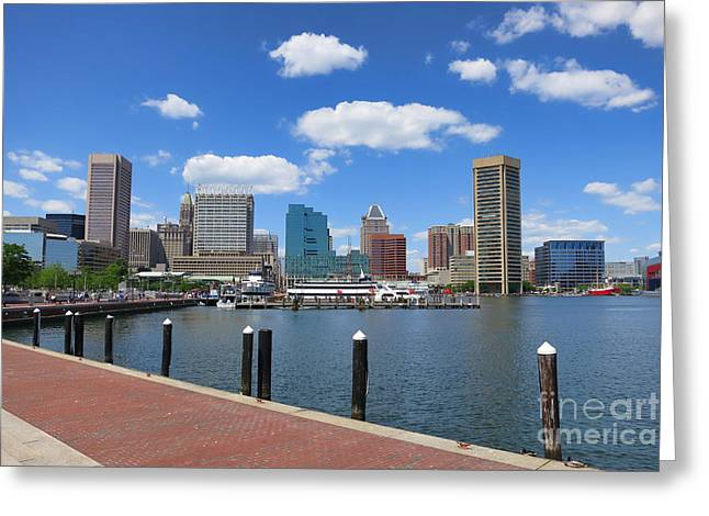 Inner Harbor Greeting Cards - Baltimore Inner Harbor Greeting Card by Olivier Le Queinec