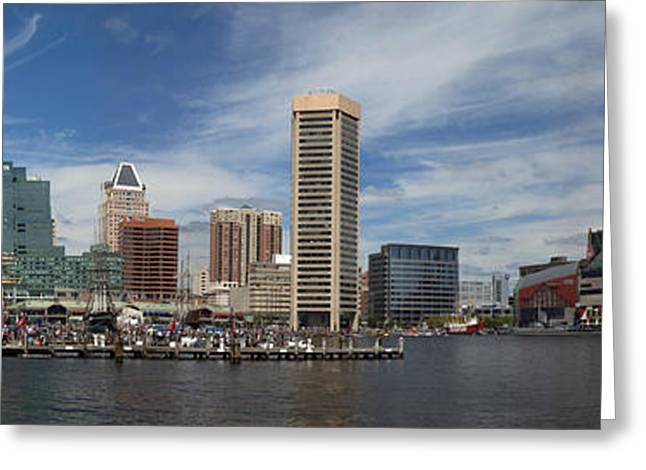 Tall Ships Greeting Cards - Baltimore Inner Harbor Panorama Greeting Card by Murray Bloom