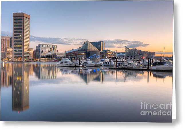 Inner World Greeting Cards - Baltimore Inner Harbor Skyline at Dawn II Greeting Card by Clarence Holmes