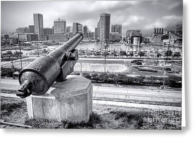 Cannon Greeting Cards - Baltimore Inner Harbor Skyline Greeting Card by Olivier Le Queinec