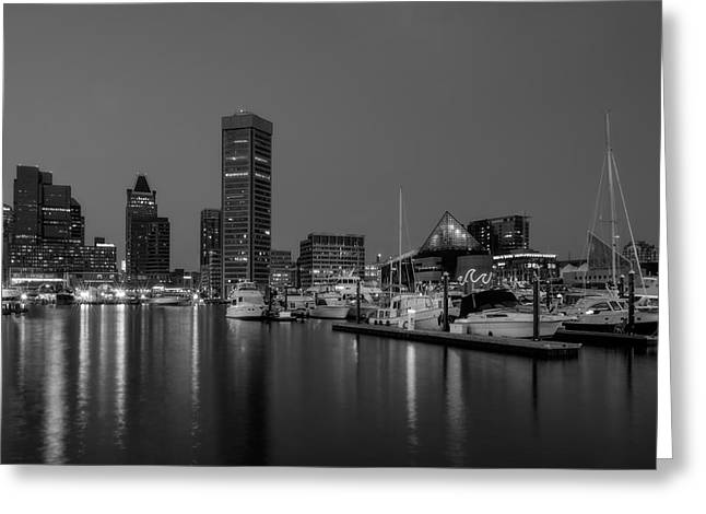 Blue Hour Greeting Cards - Baltimore Inner Harbor Skyline Reflections BW Greeting Card by Susan Candelario